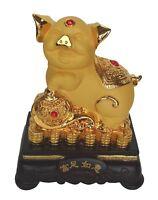 "8"" Chinese Zodiac Golden Pig Statue w/ Ru Yi Figurine for Lunar Year of Pig"