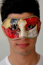 Mens Italian Made Masquerade Mask  - OVERNIGHT to Metro Aust Vivaldi Gold Mask