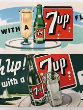 2 1948 7UP Soda Ice Cream FLOAT Paper Banner SIGN Vintage Original Advertising
