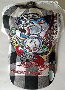 New Ed Hardy Trucker Hat Snapback Christian Audigier Rhinestone Panther & Skull