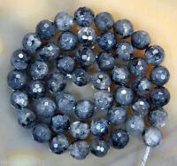 10mm Faceted Natural Black Labradorite Round Gemstone larvikite Loose Beads 15''