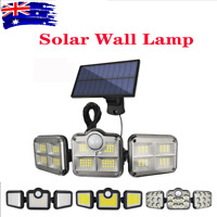 3 Head Solar Energy Motion Sensor Light Outdoor Garden Wall Security Flood Lamp