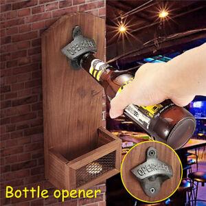 Home Bottle Opener Safe Wooden Bar Decorative Vintage Beer Cap Wall Mounted