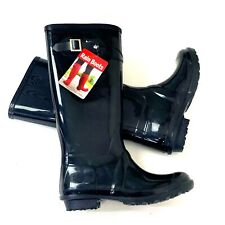 Rubber Rain Boots Womens Waterproof Black Comfort Cushioned Footbed Size 9