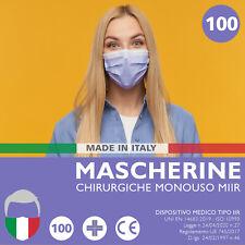 100 MASCHERINE Chirurgiche LILLA Mascherina Chirurgica Monouso FILTRANTE 3Strati