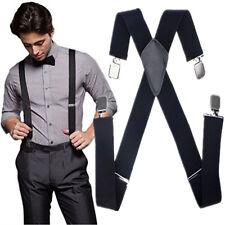 New Mens Black Elastic Suspenders Leather Braces X-Back Adjustable Clip-on