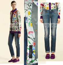 $695 GUCCI JEANS BLUE STRETCH DENIM LEGGING FIVE POCKET STYLE FLORA DETAIL 38 2
