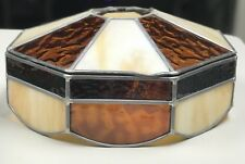 Vintage Brown/Cream/Ivory Stained Glass Lamp Shade For Table Or Hanging Shade