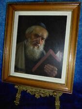 Oil on board JEWISH RABBI DEEP THOUGHT Signed Hebrew Art Polish Panel Painting