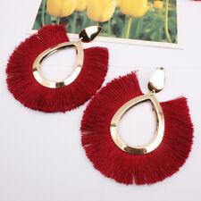 Boho Women Long Earrings Tassel Fringe Drop Dangle Hook Ear Stud Metal Earrings