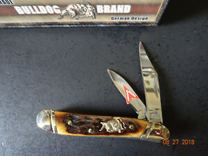 "BULLDOG BRAND CUTLERY POCKET KNIFE 2 7/8"" CLOSED LITTLE PEANUT BONE HANDLE 440 S"