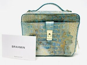 BRAHMIN EVIE SERENDIPITY MELBOURNE EMBOSSED TOP HANDLE BOX SATCHEL Turquoise BAG