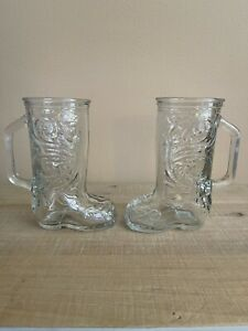 """Vintage Western Cowboy Boot Clear Glass Mugs, 6.5"""" Tall"""