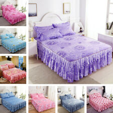 Polycotton Fitted Bed Sheet Floral Printed Bed Skirt Bedspread Dust Ruffle New