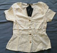 Vero Moda Women's White Linen Blend Button Blouse Top Size XS New With Tags