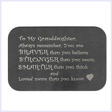 Stainless Steel Braver Stronger Smater Granddaughter Engraved Metal Wallet Card