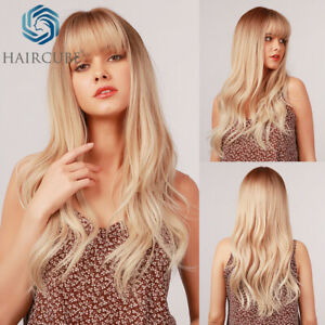 Long Natural Wavy Ombre Medium Blonde Synthetic Hair Wigs with Bangs for Women