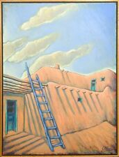 "Gustavo Novoa ""Pueblo Azul"" Original Painting on Canvas, southwestern MAKE OFFER"
