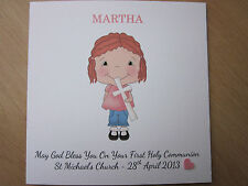 Personalised Handmade Girl's Confirmation or First Holy Communion Card