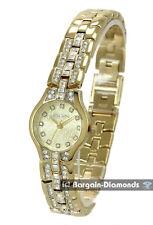 ladies Elgin petite gold tone success watch CZ bracelet gift box