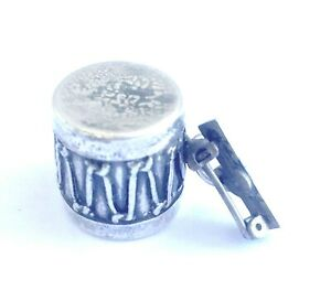 Antique Sterling Silver Drum/Rattle Charm/Pin marked Pat. 696990
