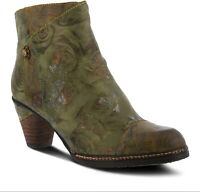 L`Artiste by Spring Step Women's Leather Booties Waterlily in Green Multi
