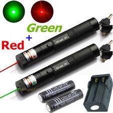 10 miles Military Green + Red 1mw Laser Pointer Pen Light Lazer Beam Power Focus