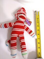 Sock Monkey Plushland Red and White Stripes Snowflakes Hat Plush Small