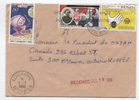 1996 Benin cover to Oxfam Canada 3 stamps [L.46]