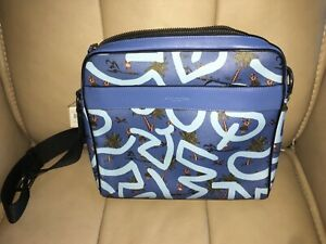NWT Coach Keith Haring Sky Blue Hula Dance Print Crossbody Camera Bag F67371