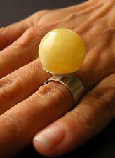 Bernstein Ring, Silberring, einstellbarer RIng, Amber, GELB  Silber 925, NEU