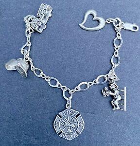 VTG 50's'60's sterling silver 925 charm bracelet fireman fire dept. theme 20 gr.