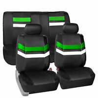 Green Black PU Leather Seat Covers Universal Fit Full Set For Car SUV Van Auto