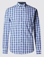 EX M&S Marks And Spencer Pure Cotton Tonal Checked Shirt
