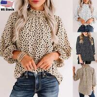 Womens High Neck Long Ruffle Sleeve Polka Dot Ladies T-Shirt Top Blouse Shirt