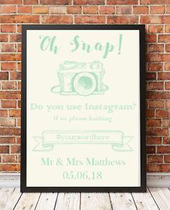 Instagram Wedding Sign A4 Poster Print PO8 Light Green