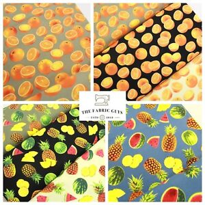 """Tropical Fruits & Oranges 100% Pure Cotton Canvas Fabric, High Quality, 45"""" Wide"""