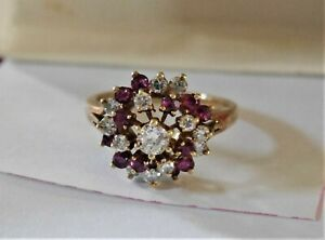 NATURAL RED RUBY & DIAMOND RING CLUSTER DOME 14K GOLD  Size 6.0 - 6.5 VINTAGE