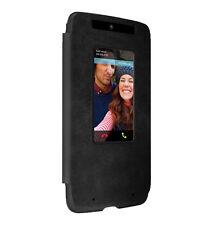 Motorola Droid Turbo Flip Case (XT1254) - Black Leather/Gray Suede