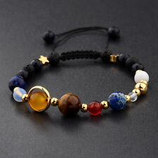 Universe Solar System Galaxy Eight Planets Stone Beads Braided Men Bracelet Gift