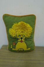 "Vintage Handmade Finished Needlepoint Cushion Pillow 8"" x 10"" Lion Cat"