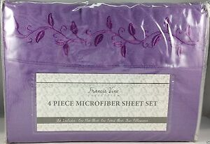 Cal King Sheet Set Purple Embroidered Scroll Leaf Pattern 4 pc Silky Soft New