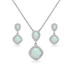 Simulated Opal & White Topaz Dangle Earrings & Necklace Set in Sterling Silver