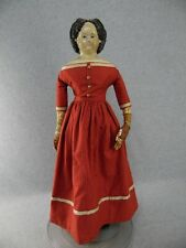 "26"" antique papier mache cloth Greiner Doll w Original 58 Label & leather hands"