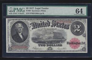 US 1917 $2 Jefferson Legal Tender FR 60 PMG 64 VCH CU (668)