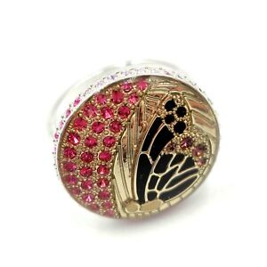 NWOT Swarovski Ring Butterfly Crystal Encrusted Ring Enameled Silver Plated 58 8