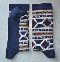 Womens Socks Aztec Navy & Multi ColorSize UK 4-7( EU 36-40) Cotton Rich 1 Pair