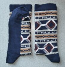Womens Socks Aztec Navy & Multi Color Size UK 4-7( EU 36-40) Cotton Rich 1 Pair