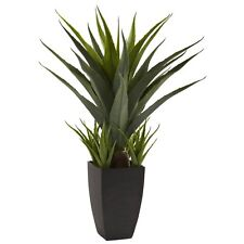 Tall Artificial Fake Plant Indoor Home Office Decor Black Standing Pot Planter