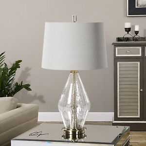 SPEZZANO CLEAR CRACKLED GLASS TABLE LAMP BRUSHED BRASS METAL LIGHT UTTERMOST